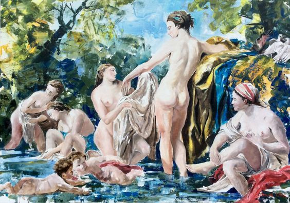 Lagrenée Revival, Bathing Venus and Nymphs Modern Art Baroque Barock acrylic on canvas